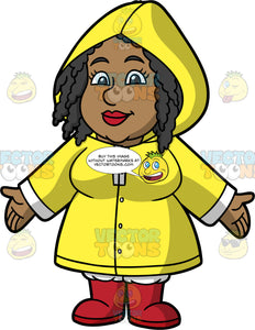 Lisa Wearing A Bright Yellow Raincoat. A black woman wearing a bright yellow raincoat with the hood covering her head, and red rain boots, standing with her arms opened out to the sides