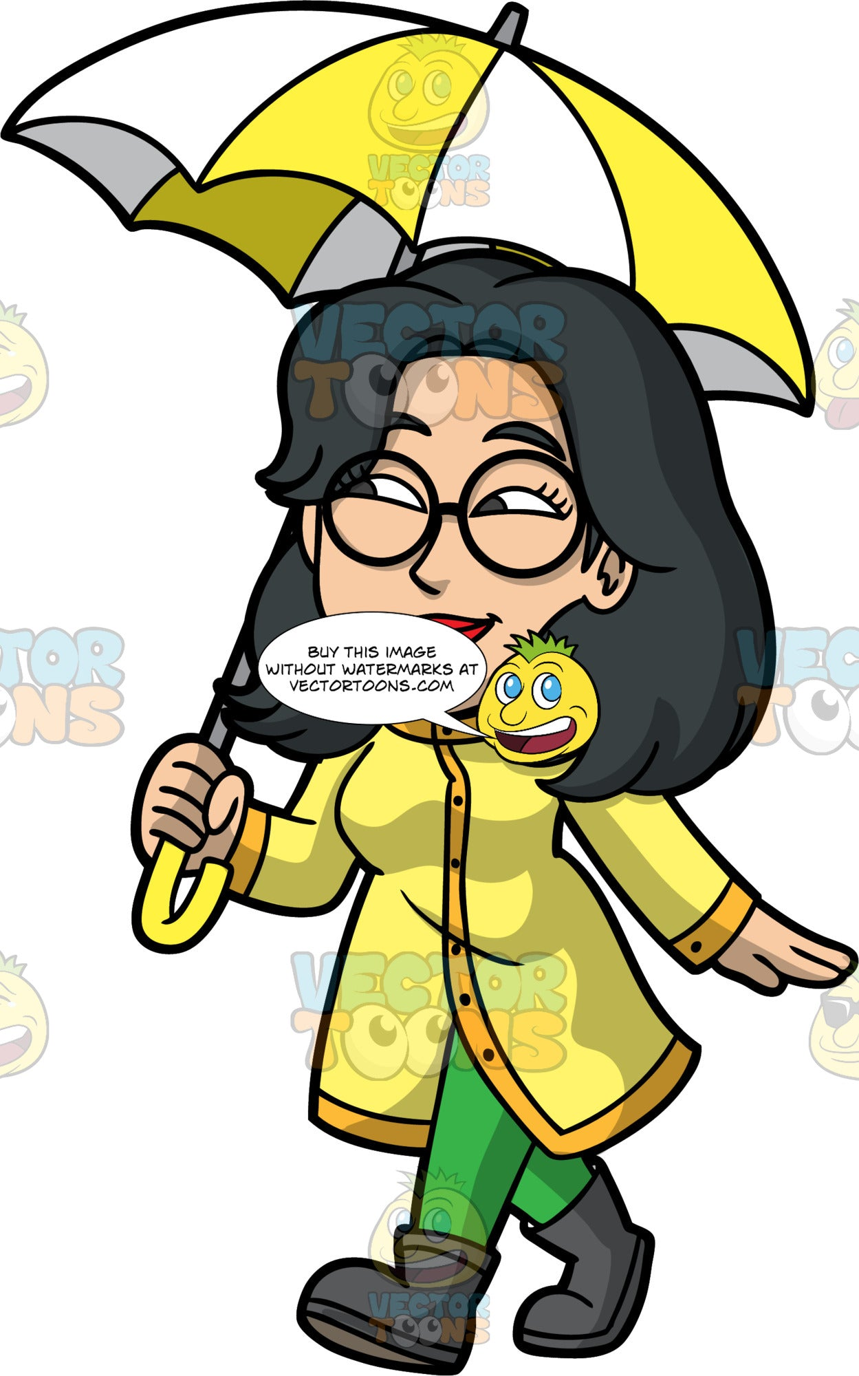 Lynn Walking In The Rain. An Asian woman wearing green pants, dark gray rain boots, round eyeglasses, and a yellow raincoat, going for a walk and using a yellow and white umbrella to protect her from the rain