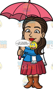 Isabella Standing Under A Pink Umbrella. A Hispanic woman wearing a pinkish red skirt, a blue jacket, a white scarf, and brown boots, standing underneath an open umbrella to protect herself from the rain