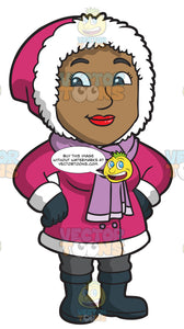 A Pretty Black Woman Wearing Winter Clothes