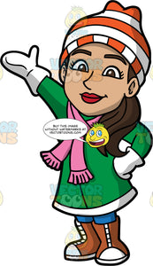 Isabella Dressed In Warm Winter Clothes . A Hispanic woman wearing a mid length green winter jacket, brown boots, white mittens, a pink scarf, and an orange and white striped hat, standing with one hand on her hip and the other reaching out to the side