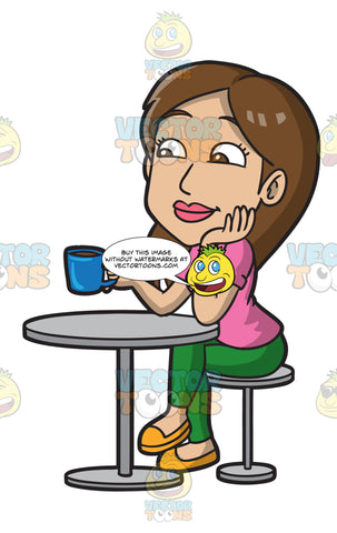 A Woman In A Coffee Shop Enjoying A Cup Of Coffee