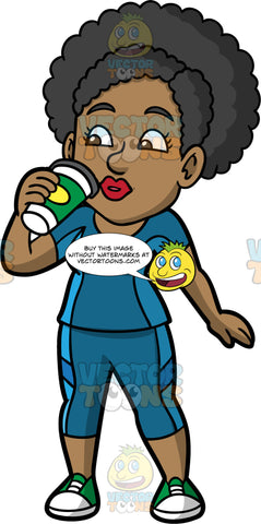 Jackie Taking A Sip Of Coffee. A black woman wearing blue yoga pants, a matching shirt, and green sneakers, sipping coffee from a paper takeaway cup
