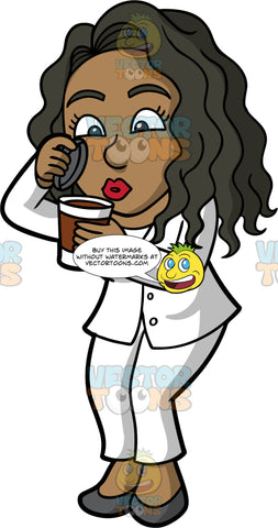 Maggy Blowing On A Hot Cup Of Coffee. A black business woman dressed in a white pant suit and dark gray shoes, lifting the lid off a to go coffee cup, and blowing on the hot coffee to cool if off