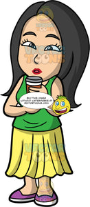 Connie Drinking Coffee From A To Go Cup. An Asian woman wearing a yellow skirt, a green shirt, and purple shoes, holding a paper coffee cup in her hand and bringing it up to her mouth to take a sip