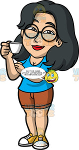 Lynn Holding An Espresso Coffee Cup. An Asian woman wearing brown shorts, a blue t-shirt, yellow sneakers, and round eyeglasses, standing and holding a small espresso coffee cup