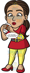 Isabella Taking A Sip Of Hot Coffee. A Hispanic woman wearing yellow leggings, a red shirt, a brown belt, and red high heels, holding a paper takeaway coffee cup in her hands, and bringing it up to her mouth to take a sip