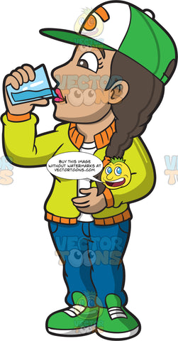 A Woman Drinking A Full Glass Of Water