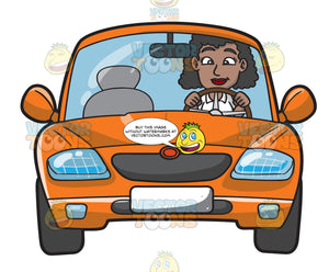 A Black Woman Driving An Orange Sedan