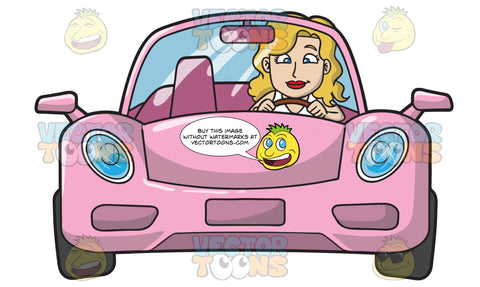A Woman Driving A Chic Pink Sports Car