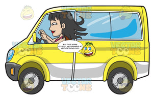 A Woman Driving A Yellow Mini Van