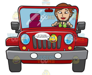 A Woman Driving A Rugged Red Jeep