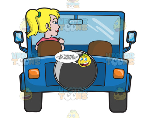 A Woman Driving A Blue Jeep
