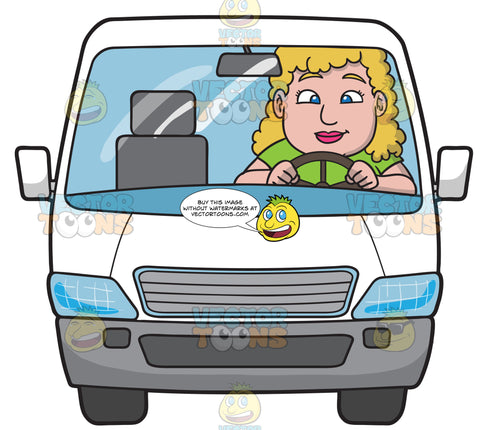 A Chubby Woman Driving A White Family Van