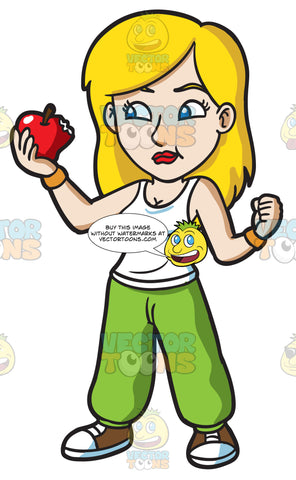 A Fit Woman Snacking On A Piece Of Red Apple