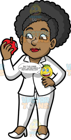 Jackie Eating An Apple. A black woman wearing white pants, a white blazer with a pink shirt underneath, and white shoes, standing with one hand on her hip, and a red apple with a bit out of it in her other hand
