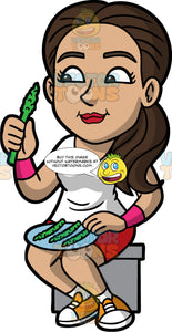 Isabella Eating Steamed Asparagus. A Hispanic woman wearing red shorts, a white t-shirt, and white and orange sneakers, sitting on a stool and eating asparagus spears