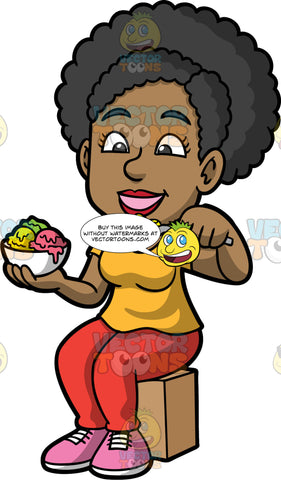 Jackie Eating Some Delicious Ice Cream. A black woman wearing red pants, a yellow shirt, and pink shoes, sitting down and eating some ice cream from a bowl