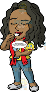 Maggy Enjoying Some Ice Cream. A black woman wearing blue pants, a yellow tank top, a red scarf, and light gray shoes, closing her eyes as she tastes some delicious ice cream