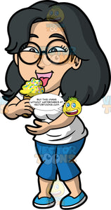 Lynn Eating Ice Cream With Sprinkles. An Asian woman wearing blue capri pants, a white t-shirt, blue shoes, and round eyeglasses, eating some lemon ice cream with sprinkles on top