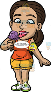 Isabella Eating Grape Ice Cream. A Hispanic woman wearing yellow shorts, an orange tank top, and white sneakers, opening her mouth and sticking her tongue out to lick her ice cream