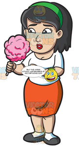 A Woman Looking At A Candy Floss