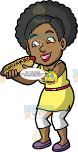 Jackie Eating A Hot Dog. A black woman wearing white capri pants, a yellow shirt with a red belt around her waist, and purple shoes, getting ready to take a bite of a hot dog with mustard