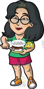 Lynn Eating A Slice Of Cake. An Asian woman, wearing dark pink shorts, a green shirt, orange and white sneakers, and round eyeglasses, eating a slice of cake with chocolate icing