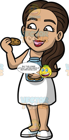 Isabella Eating A Chocolate Chip Cookie. A Hispanic woman with dark brown hair, wearing a short white dress, and white shoes, holding a jar of cookies in one hand, as she prepares to eat the chocolate chip cookie in her other hand