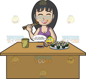 An Asian Woman Eating Sushi