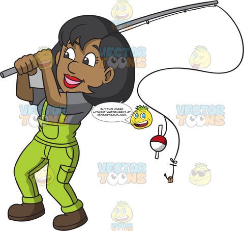A Woman Swinging Her Fishing Rod