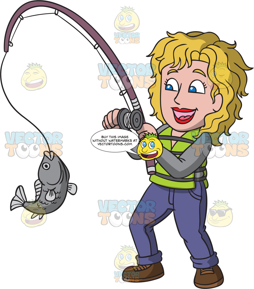 A Delighted Woman Catching A Big Fish Clipart Cartoons By Vectortoons