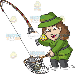 A Woman Catching A Big Fish In The Lake Clipart Cartoons By