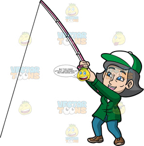 Mary Having Fun Fishing. A mature woman wearing blue pants, a green jacket, brown shoes, and a green and white baseball hat, smiles as she holds onto her fishing rod and tries to reel in a fish