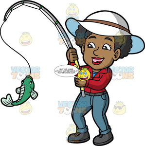 Jackie Looking At The Fish She Caught. A black woman wearing gray blue pants, a red shirt, dark gray shoes, and a white hat, admiring the fish she caught with her fishing rod