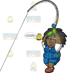 Lisa Catching A Fish. A black woman wearing blue shorts, a blue vest over a white shirt, brown shoes, and green gloves, pulling on her fishing rod as she tries to reel in a fish
