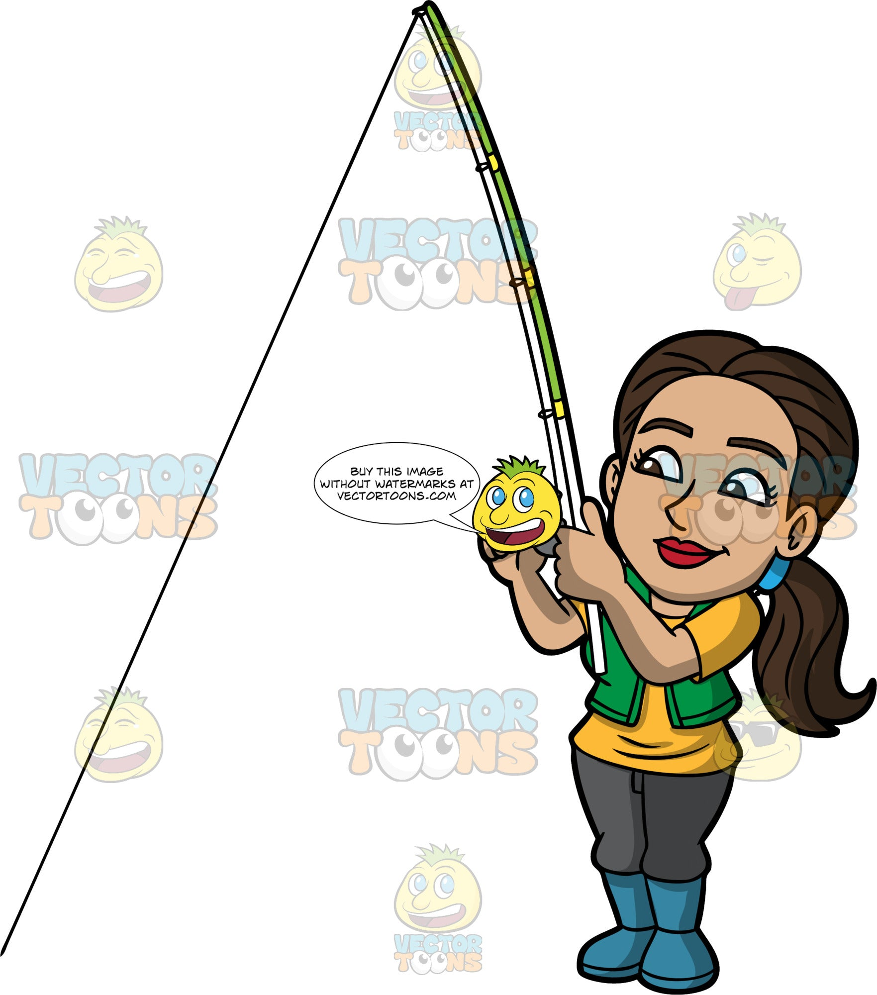 Isabella Trying To Catch A Fish. A Hispanic woman wearing dark gray pants, a green vest over a yellow t-shirt, and blue rubber boots, standing and holding a fishing rod as she patiently waits to catch a fish