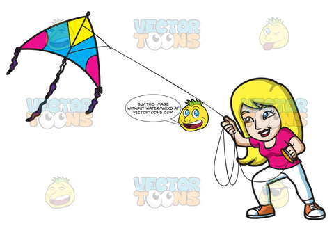 A Woman Flying A Big Kite