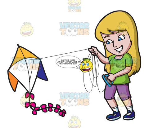 A Smiling Woman Prepares To Fly Her Kite