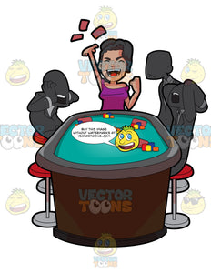 A Woman Winning A Poker Game