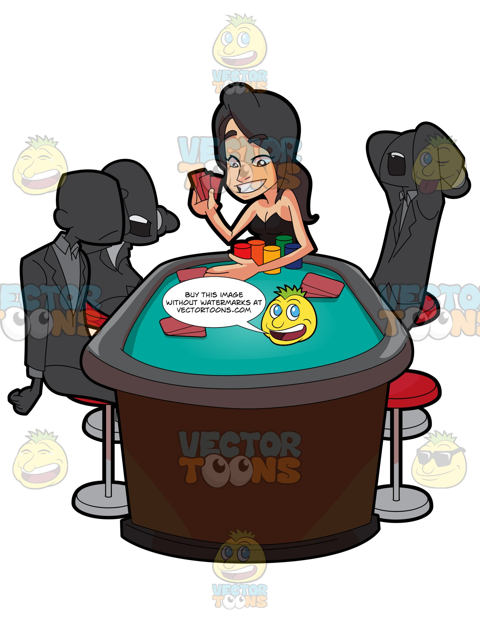 A Woman Beating Her Opponents In Poker