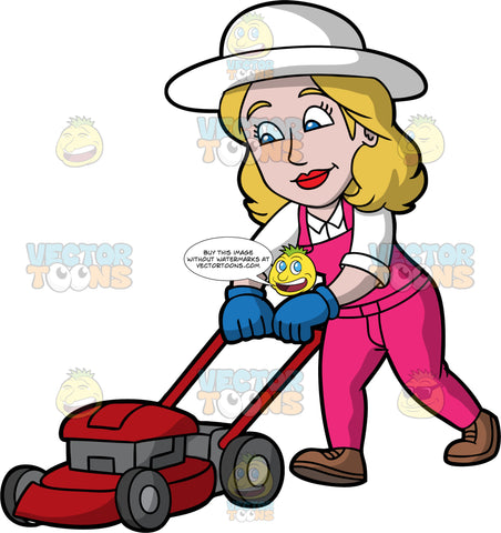 A Woman Pushing A Lawnmower To Cut The Grass. A woman with dirty blonde hair and blue eyes, wearing pink overalls over a white shirt, brown shoes, blue gloves, and a white sun hat, walking and pushing a red lawnmower that is cutting the grass