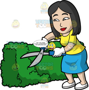 An Asian Woman Trimming A Bush With Clippers. An Asian woman with shoulder length black hair, wearing a blue skirt, a yellow shirt, white gloves, and white shoes, standing and trimming a hedge with sharp clippers