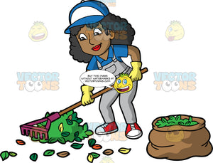 A Black Woman Raking Leaves Into A Pile. A black woman with long curly hair, wearing gray overalls over a blue shirt, red sneakers, yellow gloves, and a blue and white hat, using a rake to gather leaves into a pile and put into a bag next to her