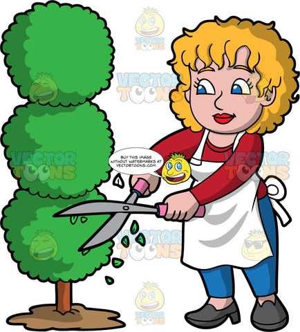 A Woman Trimming A Tree Into An Artistic Shape. A woman with dark blonde hair and blue eyes, wearing blue pants, a red shirt, a white apron, and dark gray shoes, using hedge clippers to trim a tree into circular shapes