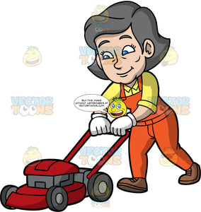Mary Mowing The Lawn With A Red Lawnmower. A mature woman with gray hair and blue eyes, wearing orange overalls over a yellow shirt, white gloves, and brown shoes, pushing a lawnmower as she cuts the grass with it