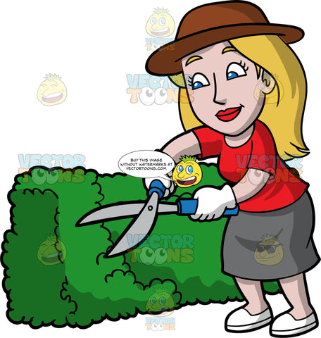 Stacey Trimming A Green Hedge With Hedge Clippers. A woman with dark blonde hair and blue eyes, wearing a gray skirt, a red t-shirt, white gloves, white shoes, and a brown sun hat, using a pair of hedge trimmers to cut a and shape a bush