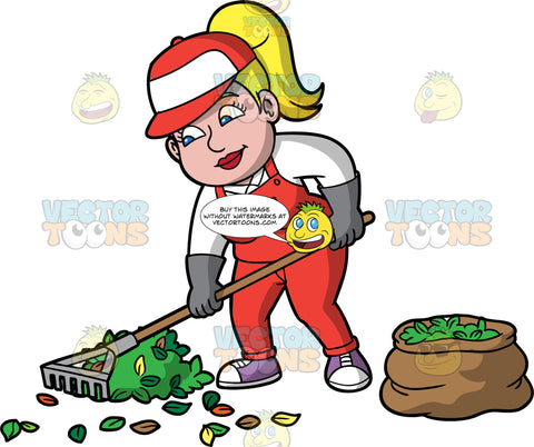 Pat Raking Leaves Into A Pile. A woman with blonde hair tied up in a ponytail, wearing red overalls over a white shirt, gray gloves, purple shoes, and a red and white hat, using a rake to clean up the leaves in her yard