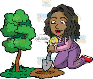Maggie Digging A Hole Next To A Small Tree. A black woman with wavy, shoulder length hair, wearing purple overalls over a pink shirt, and red shoes, kneeling on the ground and using a small shovel to dig a hole next to a small tree