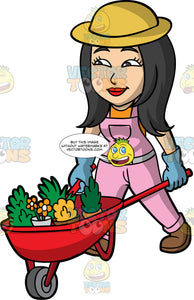 Connie Pushing A Wheelbarrow Filled With Plants. An Asian woman with long black hair, wearing pink overalls over an orange shirt, brow boots, blue gardening gloves, and a sun hat, pushing a red wheel barrow filled with a variety of plants
